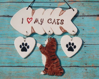 "Handcrafted Ceramic ""I Love My Cats"" Wall Plaque, Cat Lover Sign, I Love My Cats Sign, Cat Sign, Cat Wall Hanging, Custom Cat Sign, Kitty"