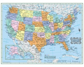 """UNITED STATES Wall Map USA Poster 22""""x17"""" or 32""""x24""""- Large Print Rolled Laminated - Personilized"""