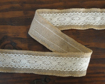 Natural Burlap and Ivory Lace Ribbon--3 Yards Burlap Lace Ribbon--Jute Ribbon--Wedding Supplies--Rustic Wedding--Rustic Chic Wedding