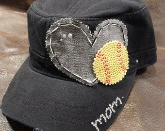 Softall LOVE Mom Bling Cadet Style Cap