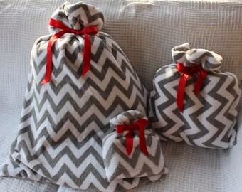 Christmas Gift Bags 3 Gray and White Chevron Cloth Gift Wrap
