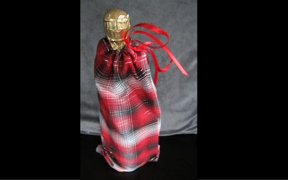 Reusable Wine Bottle Cloth Christmas Gift  Bag with Drawstring Ribbon