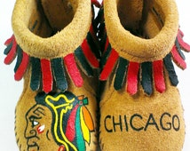 Custom Hand Painted Chicago Blackhawks Baby Moccasins