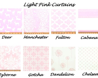 Light Pink Curtains,Pink Curtains,Bella Pink, Valance, Custom Curtains,Pair Drapery Panels,24 wide,52 wide, Baby,Child,Nursery,Shower
