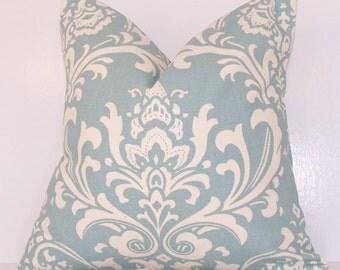 Pillow Cover.Pillow.Toss Pillow.Village Blue.Blue Pillow Cover.Light  Blue.Light Blue Pillow Cover.18x18.20x20.22x22.24x24.Lumbar.Euro.Damask