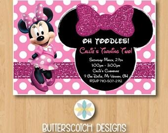 Pink Minnie Mouse Birthday Invitation - Printable/Digital File