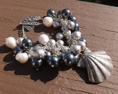 Akoya and Freshwater Pearl Bracelet in Sterling Silver with Designer Shell Pendant