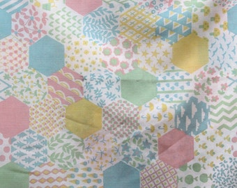 Vintage cotton carriage pram/crib/cot cover in pastel patchwork-effect print, 1970s