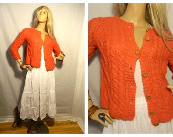 30% off VintageOrangey - Red Chunky Knit Sweater Cardigan Made in Italy Size XS-S Old time vintage Look