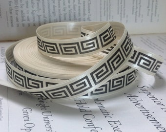 black greek key printed on ivory satin ribbon