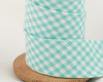 Aqua and white check Bias Binding - Sold by meter