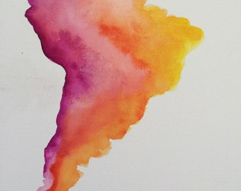 Watercolor Map of South America on 11x14 canvas