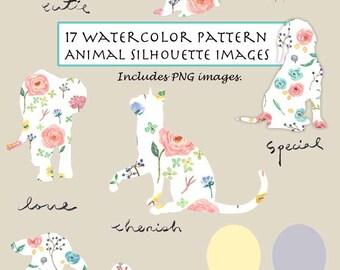 CLIP ART- Watercolor Animal & Flora Pattern Silhouette Set. 17 Images. Digital Download. Dog. Cat. Elephant. Sheep. Pig. Valentine.