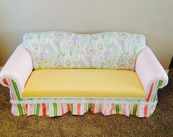 Child or Kids Sized Sofa Couch Upholstered and Custom Handmade with Skirt & Braiding