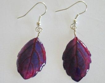 Earrings - Mint leaves - Porcelain