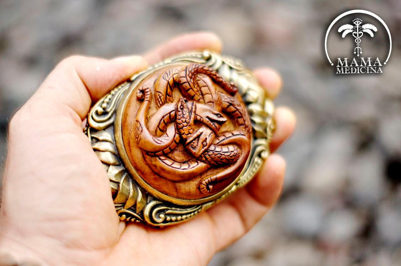 Brass belt buckle hand carved serpent spirit totem limited