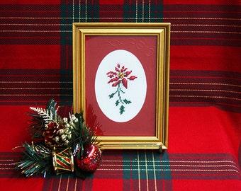 Framed Needlepoint Pictures, Framed Holiday Needlework, Finished Needlepoint Designs, Gold Framed 5 x 7 Pictures, Framed Needlepoint Art
