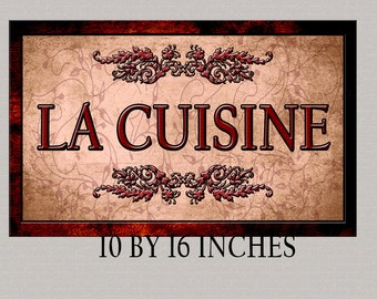 Special Fine Art, French  Language La CuisineThe Kitchen Decor For Your Home. 16 by 10 inches Mounted and Ready To Hang. Free Ship