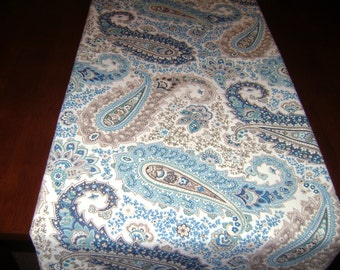 Paisley Table Runner, Blue/Brown Paisley Table Decor, 13''x72''