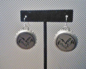Recycled Flying Dog Brewery Bottle Cap Upcycled Bottlecap Earrings
