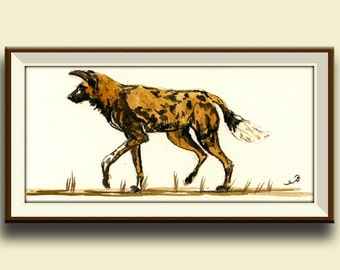 PRINT-Wild Dog african Lycaon - African wild animal dog-safari decor art wall-print of watercolor -  Art Print by Juan Bosco