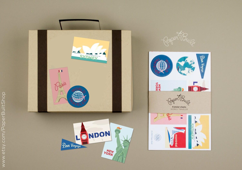 Vintage Travel Stickers for Suitcase Favor Box Vintage