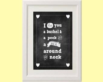 "8x10 or 11x14 Chalkboard ""I Love You a Bushel and a Peck"" Nursery Art Print | Children's Room Decor"