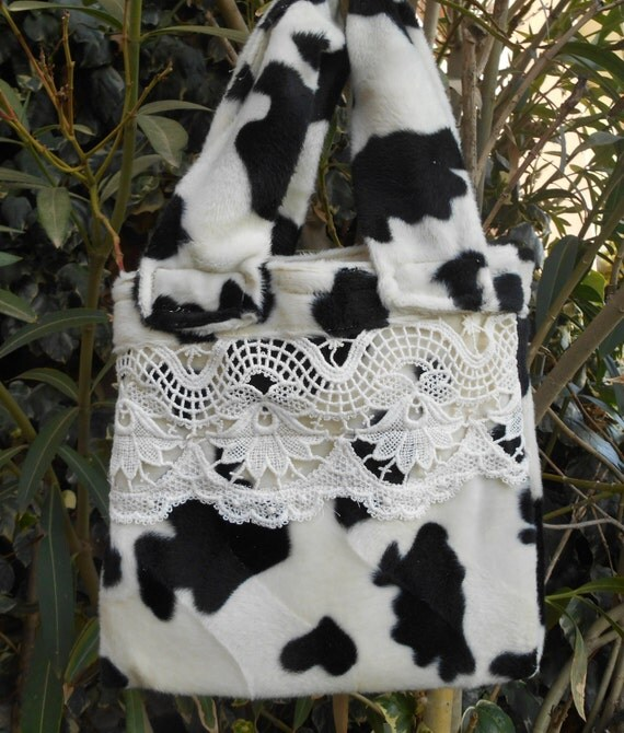 Black and White Purse Faux Cow Plush Lacey Handbag Handmade French Purse Large Handles Lined #sophieladydeparis