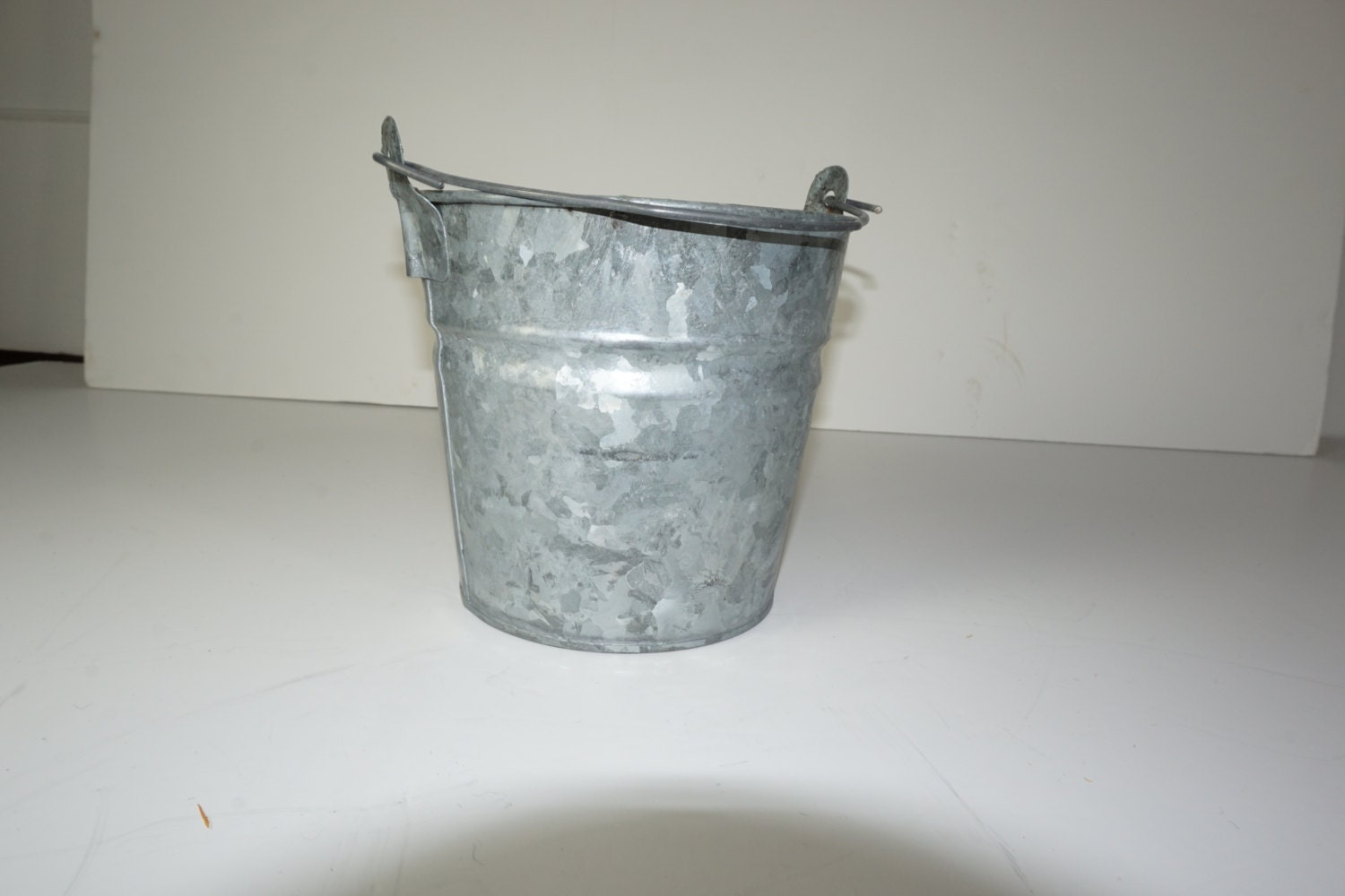 Galvanized bucket small metal bucket w handle 5 1 2 by for Tiny metal buckets