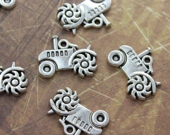 10 Tractor Charms Tractor Pendants Antiqued Silver Tone 20 x 14 mm