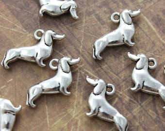 10 Dog Charms Dog Pendants Antiqued Silver Tone Double Sided 3D  12 x 20 mm