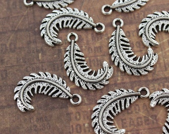 10 Feather Charms Feather Pendants Antiqued Silver Tone 15 x 20 mm