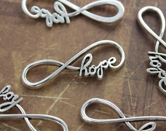 10 Infinity Hope Charms Infinity Hope Connector Antiqued Silver Tone 13 x 39 mm