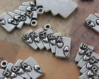 10 Poker Charms Poker Pendants Antiqued Tibetan Silver Tone 27 x 13 mm
