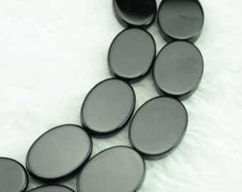 Black onyx smooth flat oval beads 15x20mm,15 inches full strand