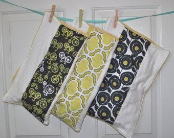 Gray + yellow gender neutral burp cloths - Set of three