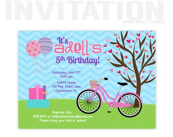 Bike Invitation, Girl Bike Party Birthday Party Invitations, personalized thank you cards, birthday invitations, party invitations / No.412