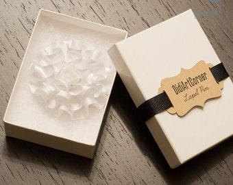 Lapel Pin, Satin White Carnation Lapel Pin, Wedding boutonniere, Lapel flower pin, mens lapel pin, flower lapel pin