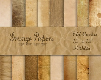 Old Grunge Digital Papers - Grunge Paper Backgrounds - Grunge Textures - 16 Designs - 12in x 12in - Commercial Use - INSTANT DOWNLOAD
