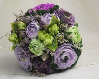 Bridal bouquet,wedding bouquet, bouquet paper flower,bouquet of curly kale,ranunculus flower bouquet, bouquet paper,