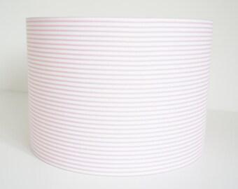 Lampshade handmade in pink and white stripe fabric, drum lampshade, nursery, girls bedroom