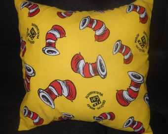 The Cat in the Hat Dr Seuss Vintage Fabric Cushion - Handmade by Alien Couture