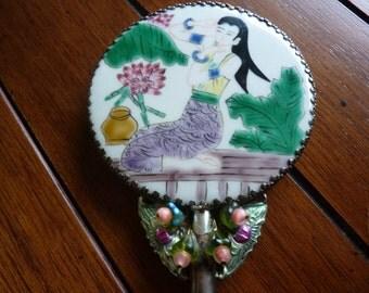 Vintage Ornate Jade Handled Vanity Mirror