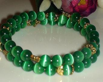 Memory Wire  Bracelet.Green Cat's Eye Opal  bracelet.