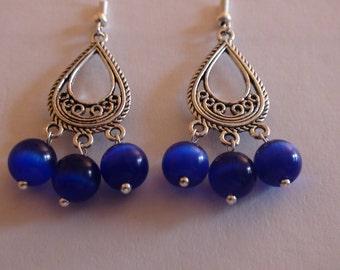 Handmade earrings.Cat's eye opal bead earrings.Women's jewelry.Women's earrings.Chandelier earrings.