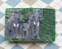 1 psc 45x70mm Cameo 3D resin elephant pattern,Resin India elephants,with small magnet on the back.