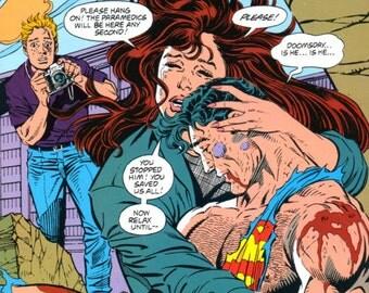 Comic Book Coaster - Death of Superman - Lois Lane - Doomsday- Sacrifice - Blue - Red - Yellow- Large Trivet or Beverage Coaster - Halloween