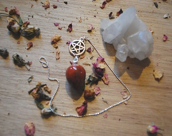 Red Jasper Drop Pendulum // Pentacle // Changeable // Divination Tools // Witchy