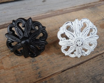 Black or Distressed White Flower Metal Drawer Pulls Knobs YOU CHOOSE ~ Romantic Country Shabby Chic Home Decor