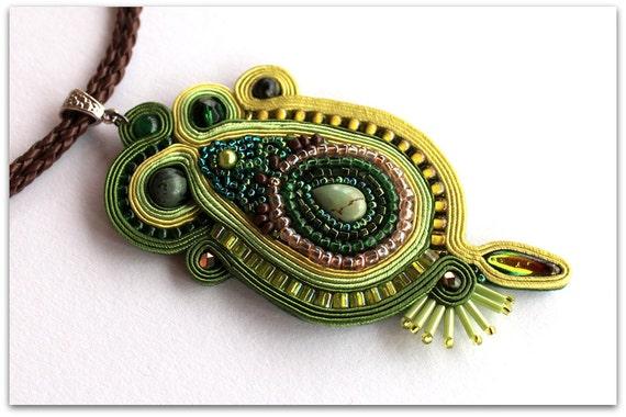 green pendant made of soutache, HANDICRAFT
